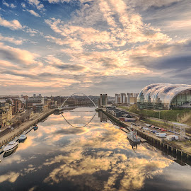 The River And The Sky by Adam Lang - City,  Street & Park  Vistas ( sage, sky, river tyne, quayside, millennium bridge, reflections, gateshead, newcastle )
