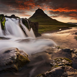 Panofell by Kaspars Dzenis - Landscapes Sunsets & Sunrises ( clouds, stream, iceland, mountain, nature, waterfall, travel, sunrise, landscape, river )