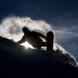 Blue Bird Powder by Barry Knight - Sports & Fitness Snow Sports ( whistler, silhouette, snow, powder, snowboarding )