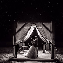 Under the stars by Awie Greyling - Wedding Bride & Groom ( black and white, wedding, stars, night, portrait, photography )