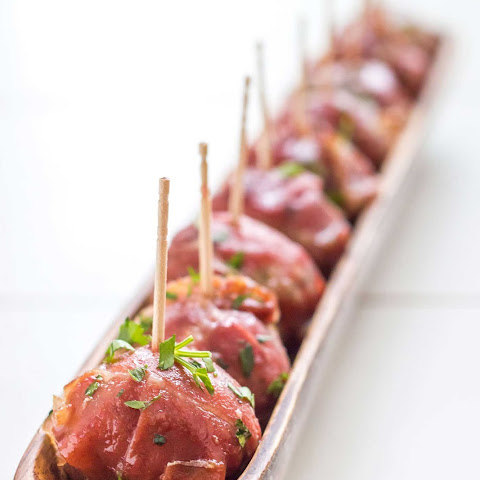 Stuffed Prosciutto Meatballs with Cranberry Glaze