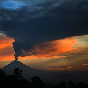 Sunset with Volcano by Cristobal Garciaferro Rubio - Landscapes Mountains & Hills ( clouds, volcano, sky, red, sunset, smoking volcano, smoke )