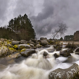 Spring river by Eugenijus Rauduve - Landscapes Cloud Formations ( water, clouds, stones, river )