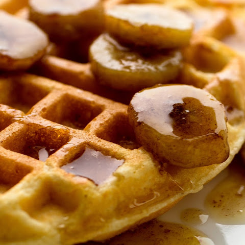 Cornmeal Waffles With Banana Bourbon Syrup