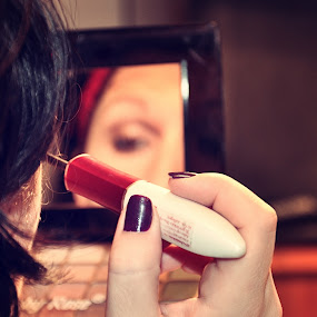getting ready by Delia Galhotra - People Body Parts ( mirror, mascara, make up, digiphotography, red, woman, portrait, photography )