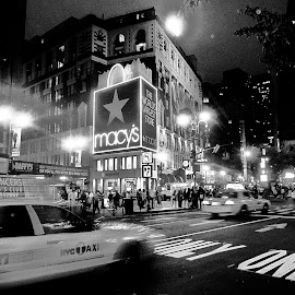 NYC by Scot Love - City,  Street & Park  Street Scenes ( black and white, macy's, night, new york, city,  )