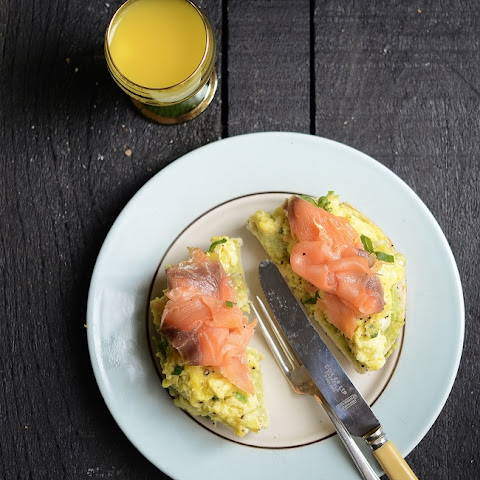 Soft Scrambled Eggs and Smoked Salmon on Bagel