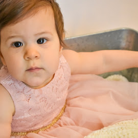 Sweet Brown Eyed Girl by Emma Celeste - Babies & Children Child Portraits ( tub, child portrait, baby girl, girl, child )