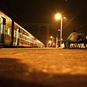 railway station by Infected Gallery - Transportation Trains ( railway, railway station, low angle, bulb, dark, indian, train, night, people waiting, lights )