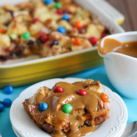 Bread Pudding with M&M's Crispy and Dulce de Leche Sauce