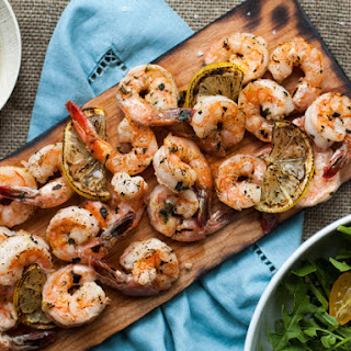 Planked Greek Marinated Shrimp