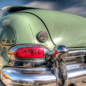 Classic Green Car by David Shayani - Transportation Automobiles ( car, reflection, hdr, green, automobile, silver, round, high dynamic range, close up, sky, red, classic car, car show, classic, shiny )