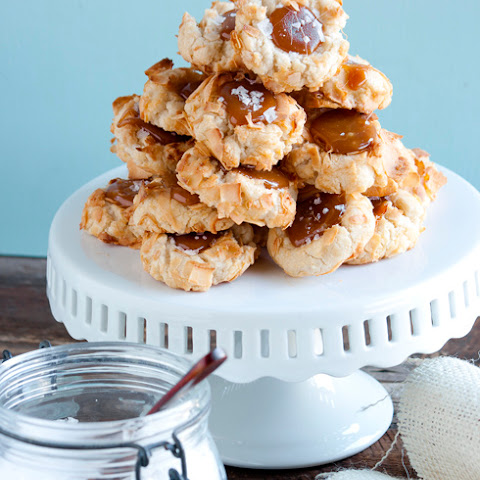 Coconut Thumbprint Cookies with Salted Caramel via Martha Stewart Living February 2012