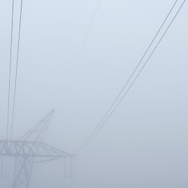 Decisions About Energy 1 by Kevin Lucas - Landscapes Weather ( wires, looming, power lines, kevin lucas, solar, yellow, morning, directions, sign, foggy, street sign, alternative energy, fog, decisions, coal, future, power, outside, energy )