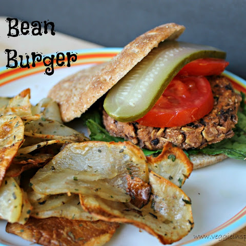 Black Bean Salsa Burger and Crispy Potato Rounds [Vegan]