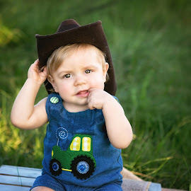 Howdy Partner  by Jeannie Meyer - Babies & Children Babies ( little one, cowboy hat, little cowboy, baby boy, one year old )