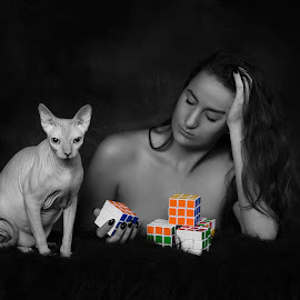 Me and my nude cat by Carola Kayen-mouthaan - Nudes & Boudoir Artistic Nude ( model, cat, nude, woman, fine art )