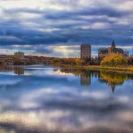Autumn in the City by Scott Hryciuk - City,  Street & Park  Vistas ( fall, city, saskatoon, saskatchewan, river, bessborough, autumn, clouds, water, park )