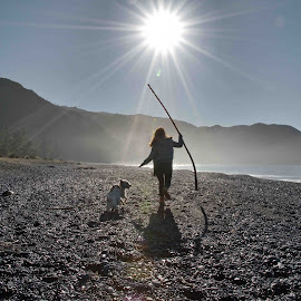 Beach Scene by Winkie Chau - People Street & Candids ( playing, foggy, girl, beach, dog )