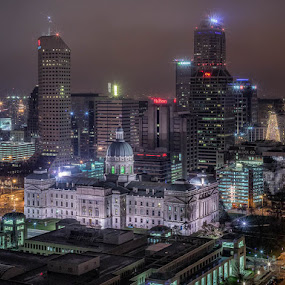 Indy at Night by Hamish Carpenter - Buildings & Architecture Statues & Monuments ( state capitol, lights, monument cirlcle, indiana, fog, indianapolis, christmas, buildings, trees, night, architecture, cityscape )