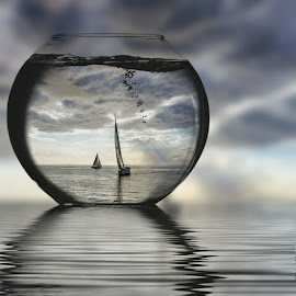 Another favorite by Ms Lyons Photography - Digital Art Things ( digital art, seascape, storm, yachts )