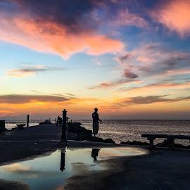 Twilight  by Etta Cox - Instagram & Mobile iPhone ( sillorette reflection sunrise ocean )