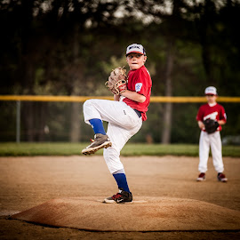 Youth Baseball Pitcher by Angela Sweeney Sellards - Sports & Fitness Baseball ( fastball, baseball, pitcher, youth, little league )