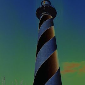 Cape Lighthouse by Joe Fazio - Digital Art Places ( stripes, national park, north carolina, lighthouse, outer banks, cape hatteras )