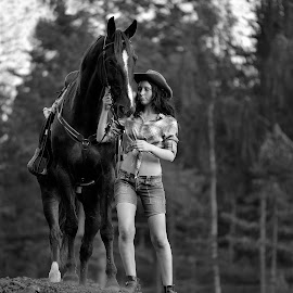 Best Friends by Ronnie Bergström - Black & White Portraits & People ( horse, b&w, woman, beauty, nature, sweden, tree, black and white, girl, friends, horses )