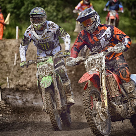 Entering The Curve by Marco Bertamé - Sports & Fitness Motorsports ( curve, two, mud, motocross, speed, fight, clumps, race, duel, competition )