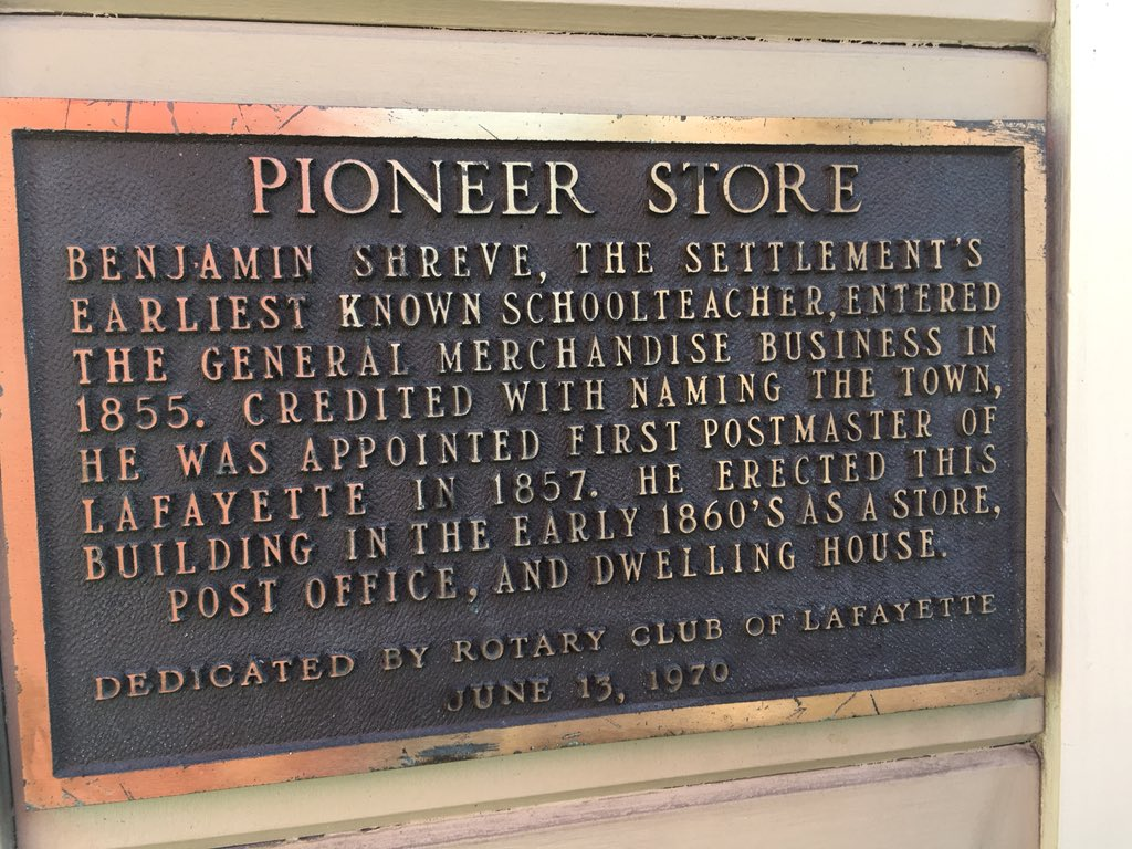 PIONEER STORE BENJAMIN SHREVE, THE SETTLEMENT'S EARLIEST KNOWN SCHOOLTEACHER,ENTERED THE GENERAL MERCHANDISE BUSINESS IN 1855. CREDITED WITH NAMING THE TOWN, HE WAS APPOINTED FIRST POSTMASTER ...
