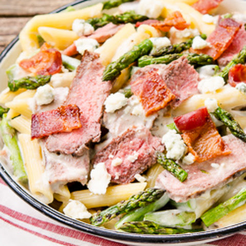 Creamy Blue Cheese Pasta with Steak and Bacon