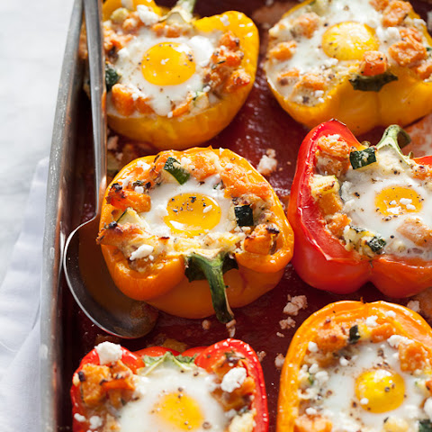Baked Eggs in Stuffed Peppers with Butternut Squash Hash