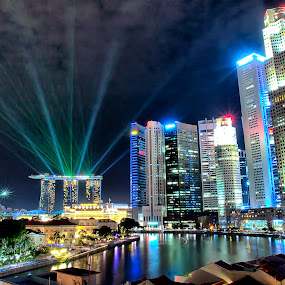 Gorgeous Night Scenery in Singapore by Riki Boo - Landscapes Travel ( mbs, laser, citylights, night; singapore; beautiful )