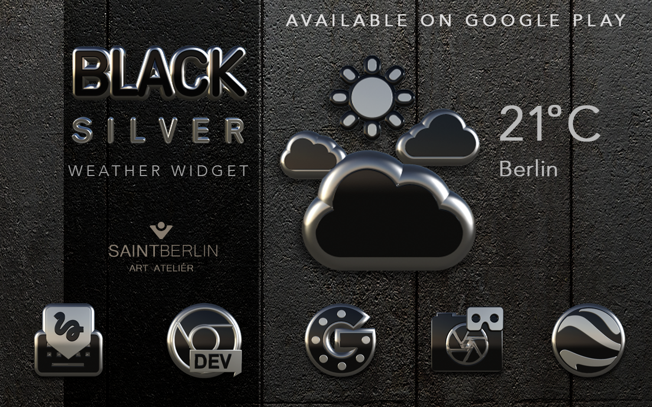 Black Silver Clock Widget Screenshot 6