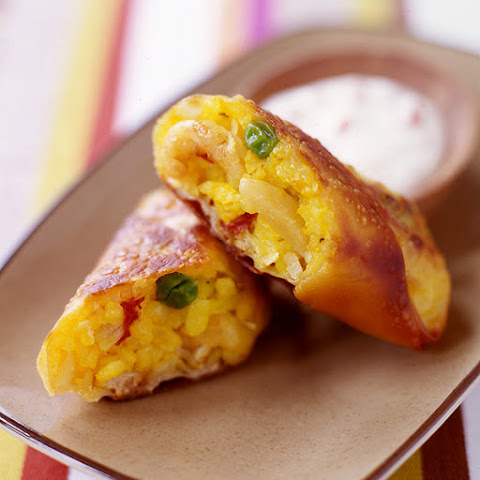 Paella Egg Rolls with Roasted Pepper Cream Sauce