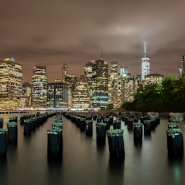 Lower Manhattan, Lower Clouds by Buzz Covington - Buildings & Architecture Other Exteriors ( lights, manhattan, nyc, landscape, city )