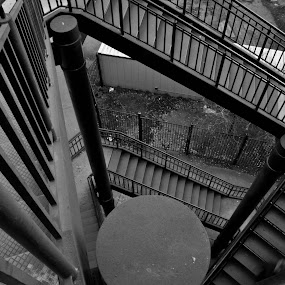 Winding Steps by Neal Kulick - Buildings & Architecture Other Exteriors ( steps  metal black & white )