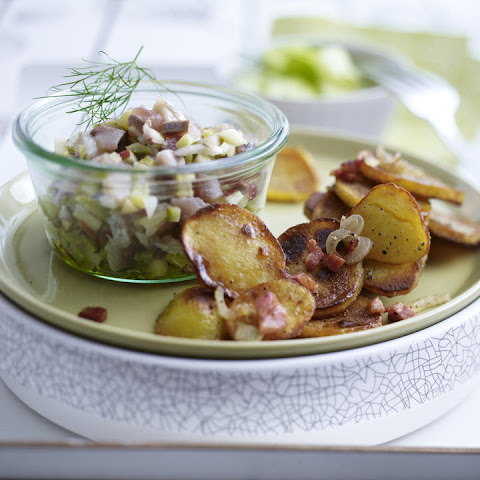 Herring and Cucumber Salads with Fried Potatoes