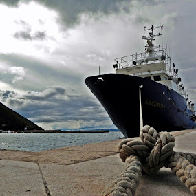 by Miho Kulušić - Transportation Boats ( blue, waterscape, ship, boat, waterscapes, landscape, fishing boat,  )