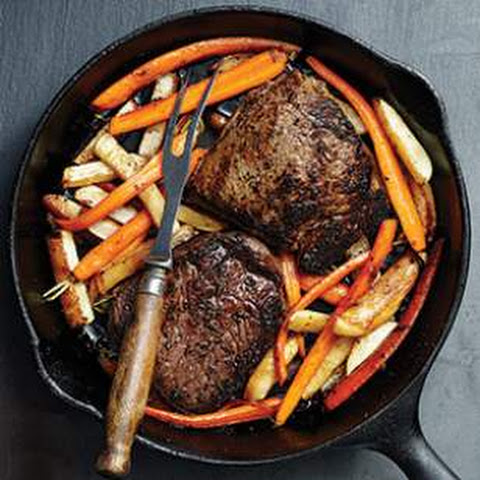Steak with Glazed Carrots & Turnips