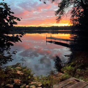 Lake Shore Life by Skip Spurgeon - Landscapes Sunsets & Sunrises ( water, reflection, sky, pier, lake )