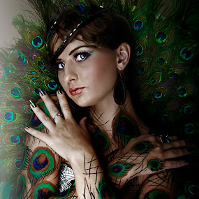peacock lady by Don Eugene Roces - People Portraits of Women
