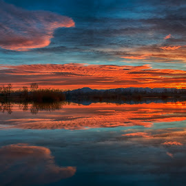 Sunset over the lake Oresje by Dubravka Krickic - Landscapes Waterscapes ( water, clouds, reflection, sky, red, colorful, colors, sunset, croatia, lake, landscape )