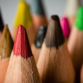 The Pencils Colored by John Edwin May - Artistic Objects Education Objects ( macro, red, colorful, bokeh, pencils,  )