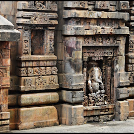 Carved Temple wall by Prasanta Das - Buildings & Architecture Other Exteriors ( temple, carvings, external, stone )