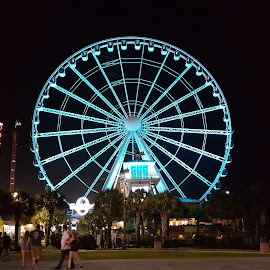 Myrtle Beach SkyWheel, SC by Michelle Nichols - Landscapes Travel ( sky wheel, sc, beach, light show, myrtle beach )