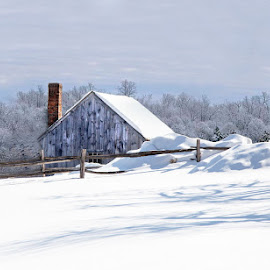 :: winter in new england :: by April Brown - Landscapes Prairies, Meadows & Fields ( farm, field, winter, barn, ma )