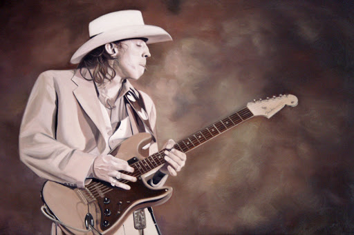 Stevie Ray Vaughan (SRV) - Olieverf op Canvas - 60 x 90 cm