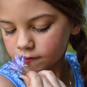 Sweet Flower by Tiffany Serijna - Babies & Children Children Candids ( innocent, tiffanyserijna, raelyn, fun, long, brown hair, cute, rae, flower, sun, outside, portrait,  )
